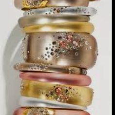 Alexis Bittar lucite bangles are amazing in shades of rose gold, silver & gold.