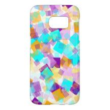 Funky Purple Turquoise Orange Pink Squares Pattern Samsung Galaxy S7 Case