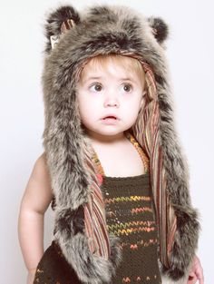 What's Your Spirit Animal? ...... GREY WOLF -- BABY (Faux Fur) .... Traits: Loyal > Social > Teacher ...#InnerAnimal #SpiritHoods
