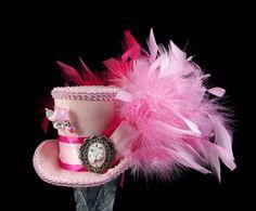 Pink on Pink Cameo Mini Top Hat Fascinator, Alice in Wonderland, Mad Hatter Tea Party, Derby Hat