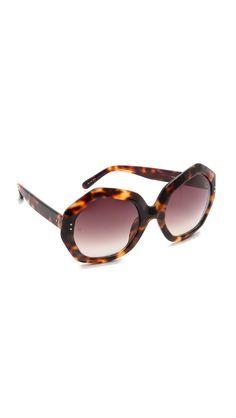 Linda Farrow Luxe Geometric Sunglasses Tortoiseshell in Animal (Tortoiseshell)