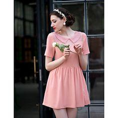 Cute pink doll collar skater dress