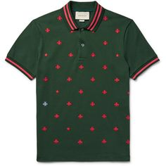 Gucci Contrast-Tipped Embroidered Stretch-Cotton Piqué Polo Shirt ❤ liked on Polyvore featuring men's fashion, men's clothing, men's shirts, men's polos, mens patterned shirts, mens pique polo shirts, mens stretch shirts, mens print shirts and mens embroidered shirts