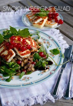 Smoky Aubergine Salad with Grilled Halloumi and Redcurrants
