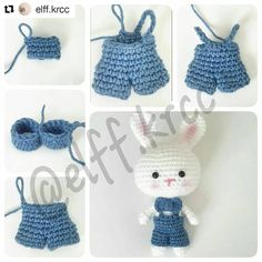 "157 Likes, 5 Comments - Amigurumi (@amigurumitarif) on Instagram: ""#Repost @elff.krcc with @repostapp ・・・ Merhaba🌸 Yorumlardan ve özelden tavşan kıyafetinin tarifi…"""