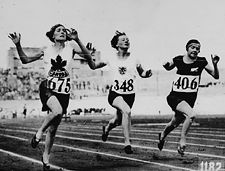The first time (1928) women were allowed to compete in track and field in the Olympics. Myrtle Cook  (675) was the 100 m world recorder holder at the time.