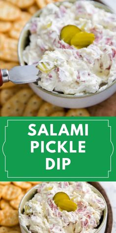 This salami dill pickle dip is reminiscent of pickle rolls! This tasty, scoopable version has delicious, easy and so addicting! Pickle fans, grab your crackers, and dig in! Dill Pickle Dip, Yummy Snacks, Yummy Food, Everyday Food, Finger Foods, Pickles, Dips, Good Food, Dinner Recipes