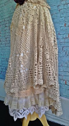 Cream and bisque lace crochet  knife pleat asymmetrical hem boho princess dress