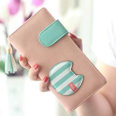 2015 인기 여성 지갑 귀여운 고양이 레이디 지갑 새로운 디자인 여성 클러치 여러 가지 빛깔의 스트라이프 카드 홀더 신선한 소녀 지갑 변경