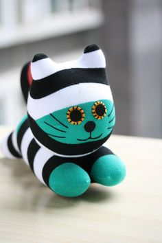 T9 Stuffed cat doll toy plush Colored cat stripes by Toyapartment