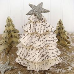 Last Minute Christmas...Easy Vintage Paper Trees - there's a link to the website for directions. Super easy!