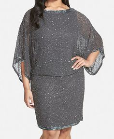 J Kara Embellished Blouson Dress (Plus Size). A glittery trail of beads and sequins traces night-sky shimmer over a filmy chiffon dress in a flattering blouson silhouette. Sheer kimono sleeves enhance the ethereal design. Dress Plus Size, Plus Size Outfits, Mother Of The Bride Dresses Plus Size, Curvy Fashion, Plus Size Fashion, Casino Dress, Looks Plus Size, Beaded Gown, Plus Size Kleidung