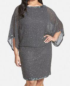 J Kara Embellished Plus Size Blouson Dress