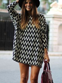 Trendy Geometric Print Dress Black and White Long Sleeve Dress. Top 10 dresses of the season! Fabric :Fabric has some stretch Season :Fall Type :tunic Pattern T