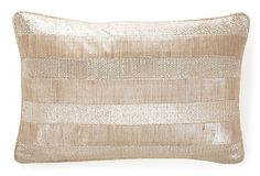 One Kings Lane - Festive & Fun - Stripes 13x20 Silk Pillow, Natural