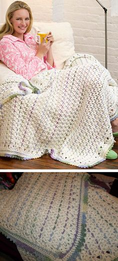 """Chain Stripes Throw, free pattern from Red Heart.  Puffs & V-stitches, with chains woven through to create stripes.  52"""" x 57"""", 6 skeins white, 2 skeins Red Heart 'Watercolor', hook size K.  #crochet #afghan #blanket"""