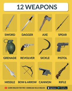 12 types of weapons Learn English Grammar, English Vocabulary Words, Learn English Words, English Phrases, English Idioms, English Study, English Lessons, English Learning Spoken, Learning English For Kids