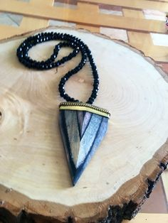 Long Black Arrowhead Necklace by KatherineRoseDesign on Etsy