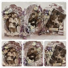 Triptech by LLC DT Member Tracy Payne, using papers from Pion Design's Flower Frames collection.