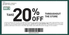 20% off everything in store at Dicks Sporting Goods #coupons More Dicks Coupons here - http://www.chachingqueen.com/tag/dicks-sporting-goods/
