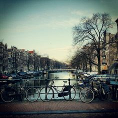 Holland, Amsterdam bicycles, canal