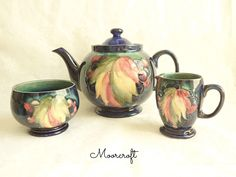 Vintage Moorcroft Teapot Cream Sugar Tea Set 1930s Leaf Berry