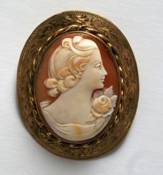 Carved Shell Cameo Pin Brooch