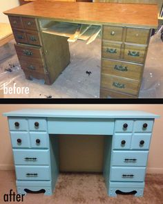 "The ""As Is"" Desk. Refinished in Tiffany Blue. It was missing one drawer and another drawer bottom, hardware, etc. Fixed it up and gave it a new coat of paint."