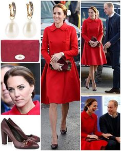 It was another new label for the Duchess today as she and William braved the cold to meet the local people of Whitehorse, Yukon this morning. The double breasted $1,915 red coat is from the Venezuelan-American designer Carolina Herrera and is made of double-faced wool and cashmere mix. This is the third time Kate has opted for Canadian colours on the tour. She also debuted another pair of heels from a new designer, Tod's. The 'Tod's Pumps With Fringes' feature a fringe detail and metal…