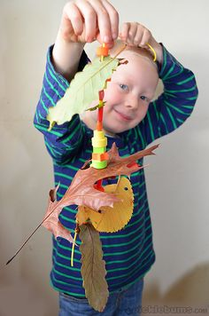 autumn leaf threading....could also thread onto a pipecleaner - easier for toddlers just embarking on treading skills!