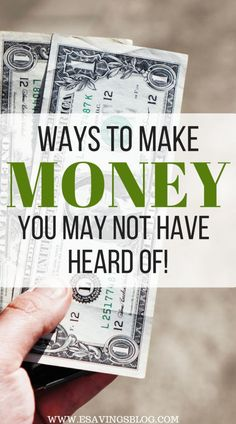Looking for different ways to make money? Here are some ways to make money you may not have heard of. Make extra money using these tips and start saving! Earn Money From Home, Make Money Fast, Earn Money Online, Fast Cash, Extra Cash, Extra Money, Money Saving Tips, Money Tips, Money Hacks