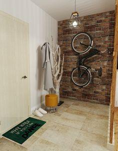 Przedpokój, korytarz, wiatrołap, miejsce na rower, wieszak na płaszcze. Zobacz więcej na: https://www.homify.pl/katalogi-inspiracji/16275/jak-urzadzic-maly-i-waski-przedpokoj