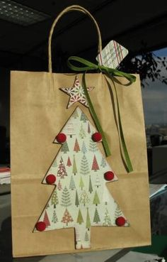 O Christmas tree gift bag. gift bag O Christmas Tree gift bag by ReginaBD - Cards and Paper Crafts at Splitcoaststampers Christmas Tree With Gifts, Christmas Gift Bags, Christmas Gift Wrapping, Homemade Christmas Gifts, Christmas Projects, Xmas Gifts, Santa Gifts, Diy Gift Bags Paper, Homemade Gift Bags