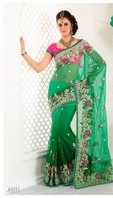 Rich Green Saree with stone/aari work border 4333