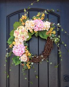 Spring Wreath Easter Wreath Summer Wreath Mother's Day Grapevine Door Wreath Decor Pink Peach Green on Etsy, $80.00