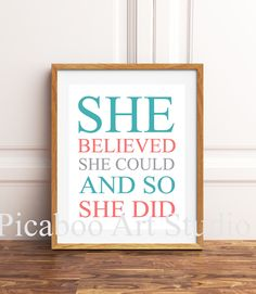 Girls room wall art, girls inspirational quote, girls wall art, teen girl art, She believed she could, choose your colors Inspirational Quotes For Girls, Girl Bedroom Walls, She Believed She Could, Childrens Room Decor, Girl Quotes, Art Girl, I Shop, Teen, Wall Art