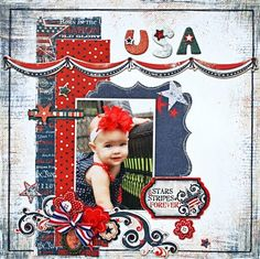 4th of July Scrapbook layout..