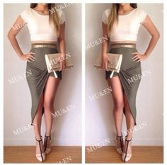 Cheap Sexy Two-Piece Pure White Top Gray Cut-Out Waist Classy Dresses For Women ME-M0053jpg.jpg http://www.lover-fashion.com/Classy-Dress-c555.html