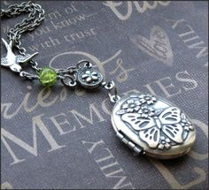 Silver Locket Necklace  Enchanted Peridot by TheEnchantedLocket, $31.00