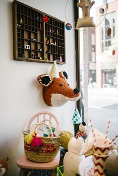 Fox head by Sincerely Louise . Molly-meg pop up shop at anthropologie. Photograph by Michelle Marshall