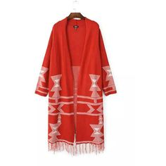 Yoins Red Tribal Longline Cardigan (3.275 RUB) ❤ liked on Polyvore featuring tops, cardigans, red, shirts & tops, red cardigan, tribal shirt, long line cardigan, long line shirt and tribal pattern shirts