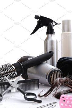 Composition hairdressing tools Photos Vertical composition hairdressing tools on a white table and white background isolated by Davizro's Market