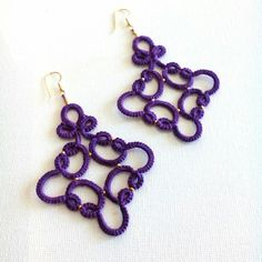 Tatted red lace earrings //Tatting lace//frivolite//Tatted jewelry//Lace jewelry//Lace earrings//Red earrings In purple with 925 gold plated silver hooks. Tatting Earrings, Tatting Jewelry, Lace Earrings, Lace Necklace, Lace Jewelry, Tatting Lace, Jewelry Crafts, Crochet Earrings, Jewellery Box