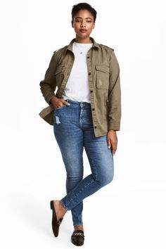 skinny-fit jeans in washed stretch denim with heavily distressed details, regular waist, and zip fly. Jeans Slim, Skinny Fit Jeans, Denim Jeans, Kids Fashion, Winter Fashion, Womens Fashion, Fashion Ideas, Plus Size Jeans, H&m Online