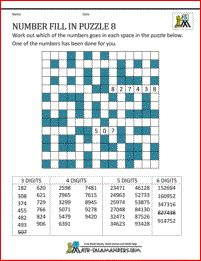 5th Grade Math Puzzles - Number Fill in Puzzle 8