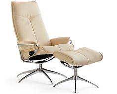 Stressless City high base Chair: 33.5w x 35.25 d Ottoman: 21.25 x 16d