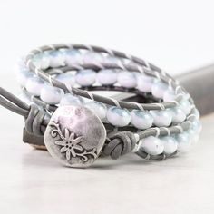 Leather Wrap Bohemian Bracelet Gray Leather by AbacusBeadCreations, $34.00