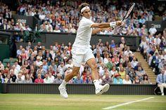 Roger Federer hits a forehand