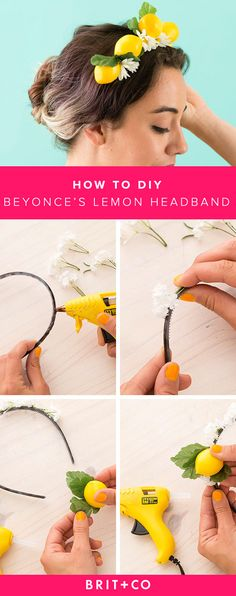Beyonce's Lemon Headband in Under Ten Minutes Make Beyoncé proud with this DIY lemon headband that's the perfect hair accessory for the summer.Make Beyoncé proud with this DIY lemon headband that's the perfect hair accessory for the summer. Vintage Hair Accessories, Hair Accessories For Women, Diy Accessories, Diy Headband, Headbands, Beyonce, Lemon Hair, Small White Flowers, Hippie Costume