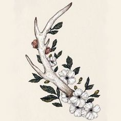 Floral Antler Art Print by Jessica Roux Elegant Tattoos, Trendy Tattoos, Beautiful Tattoos, Tatoo Art, Body Art Tattoos, Tatoos, Fox Tattoos, Wing Tattoos, Raven Tattoo